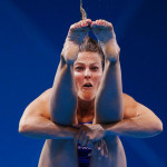 Sweden's Anna Lindberg performs a dive during the women's 3m springboard preliminary round at the London 2012 Olympic Games at the Aquatics Centre